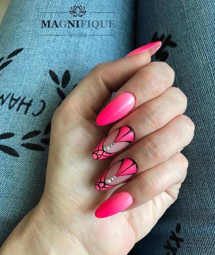 "Pink Ombre nails aztec nails too inspired Magnifque Studio (@magnifique_studio_indigo_nails) auf Instagram: ""Los Flamingos, Luna Park & Black poison. #indigonails #indigomiami #indigonailslab #indigoombre…"""