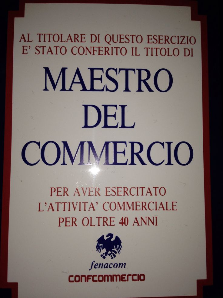 Francesco Frascone Maestro del Commercio  Aquila d'Oro 1990