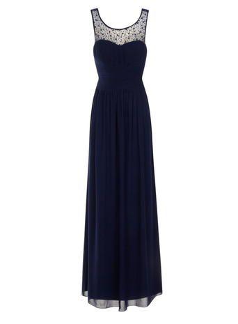 **Little Mistress Navy Embellished Maxi Dress