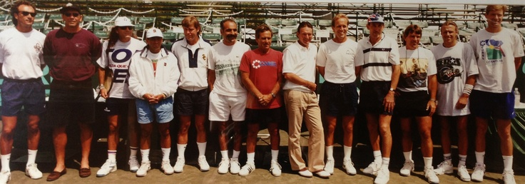 Only pic of Peter Fleming I could find. He's on the end. Fastest serve in tennis back in the late 70s.