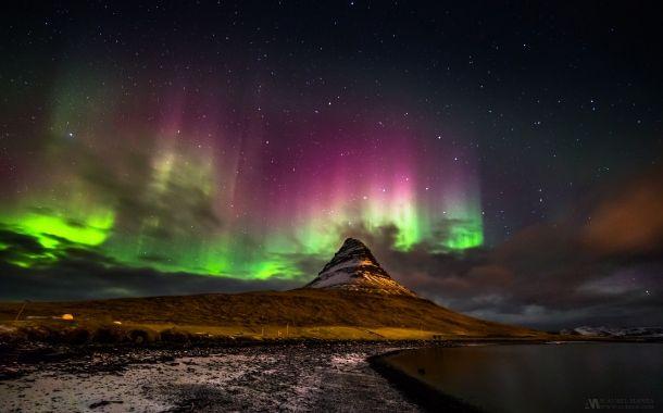 aurora boreală, munte, Kirkjufell