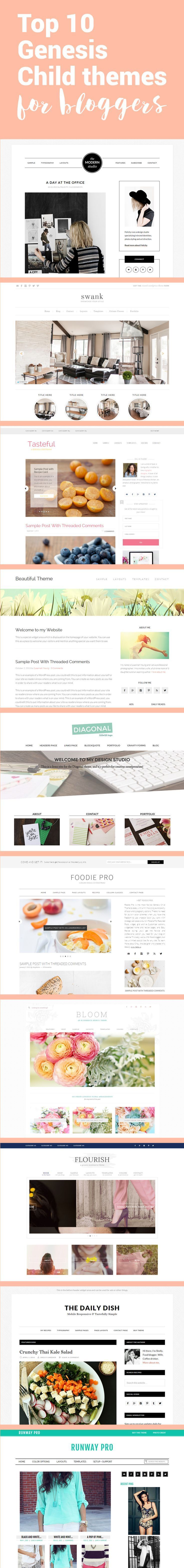 Looking for a new WordPress theme? Check out these 10 Genesis child themes. Beautiful themes for bloggers!
