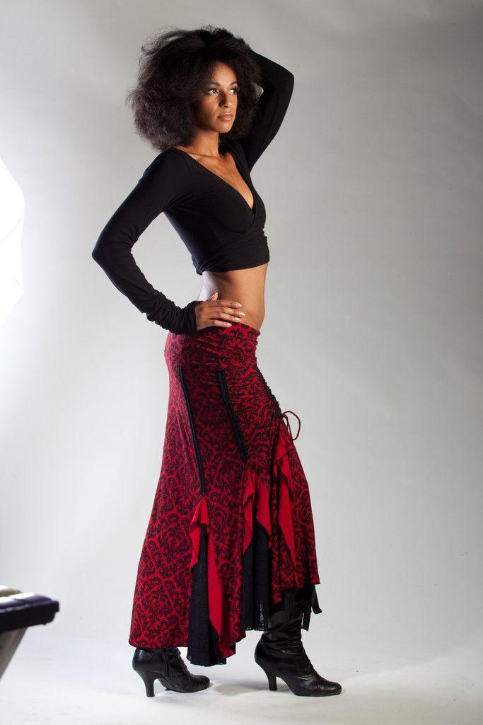 Red/Black Victorian Flamenco Skirt