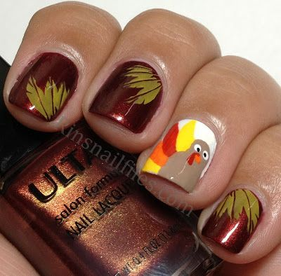 Wow, I Love This Design of Turkey and Leaves Nails Polish - 2014  Thanksgiving Art - Best 25+ Thanksgiving Nails Ideas On Pinterest Thanksgiving Nail