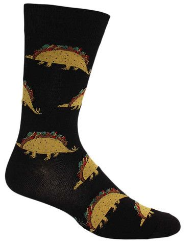 Combining your two favorite things: wickedly awesome dinosaurs and scrumptiously juicy tacos. Don't wait until Tuesday to proudly rock this pair of cool food socks, but instead make every day a fies