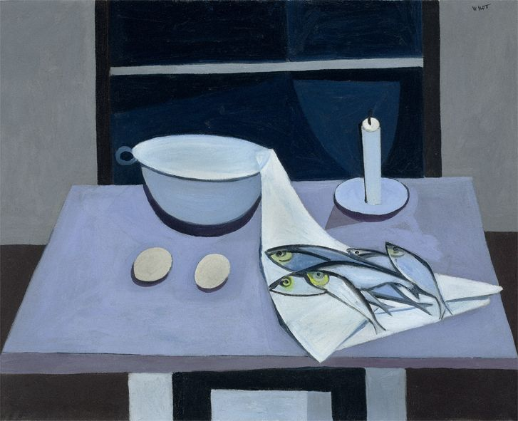 William Scott, Colander and Herrings at Window, 1949 or 1950, Oil on canvas, 66 × 81.3 cm / 26 × 32 in, Private collection