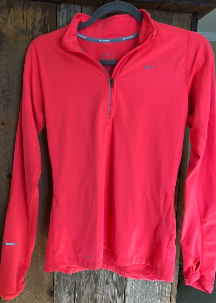 NIKE ELEMENT DRI-FIT Jacket Womens RUN 1 4 Zip Pullover Orange  Pink Small  S  fashion  clothing  shoes  accessories  womensclothing  activewear  ad  (ebay ... 393cba14fc2e