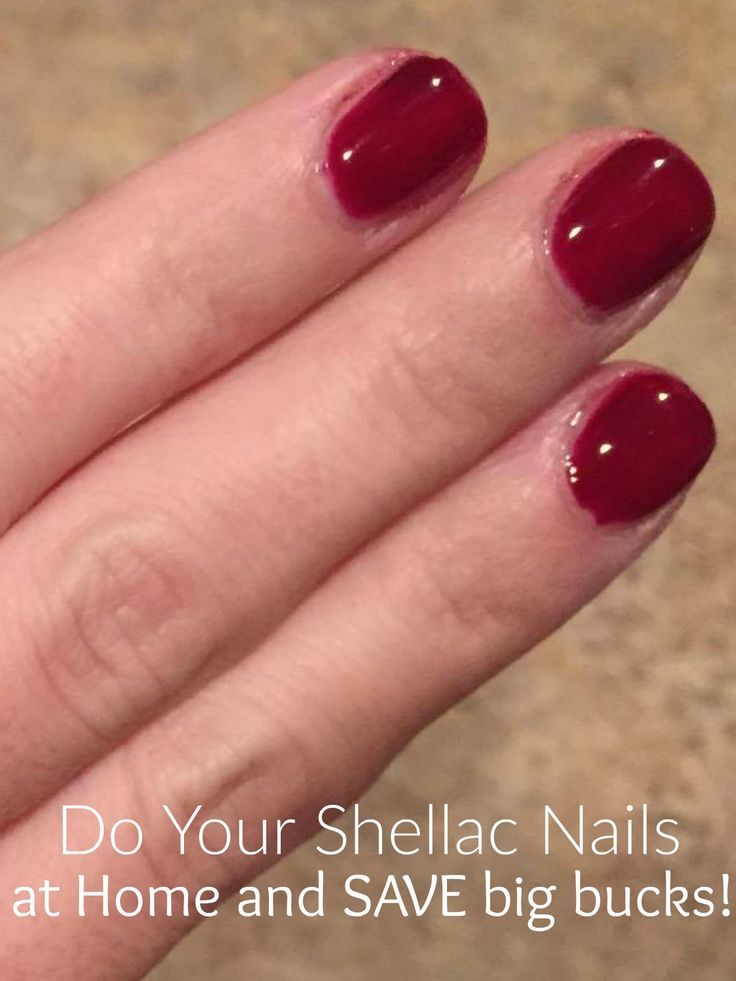 Shellac Nails on a Budget: How to Do Shellac Nails at Home :)  To save money and time, I do my own shellac nails at home, and you can too! It's a small investment compared to the amount of money it takes each time to get them done in a salon, not to mention the time it takes to get to the salon, time spent waiting for your turn at the salon, etc.