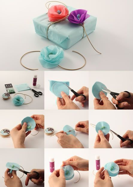 Make pretty paper flowers to decorate your presents.