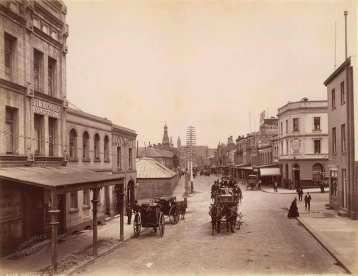 Corner George and Argyle Sts,The Rocks,Sydney in the late 1800s,looking south.The Orient Hotel is on the right. Photo from State Library of NSW.A♥W