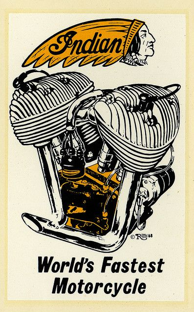 """ratfinksofamerica: indian on Flickr. Indian World's Fastest Motorcycle Ed """"Big Daddy"""" Roth water slide decal."""