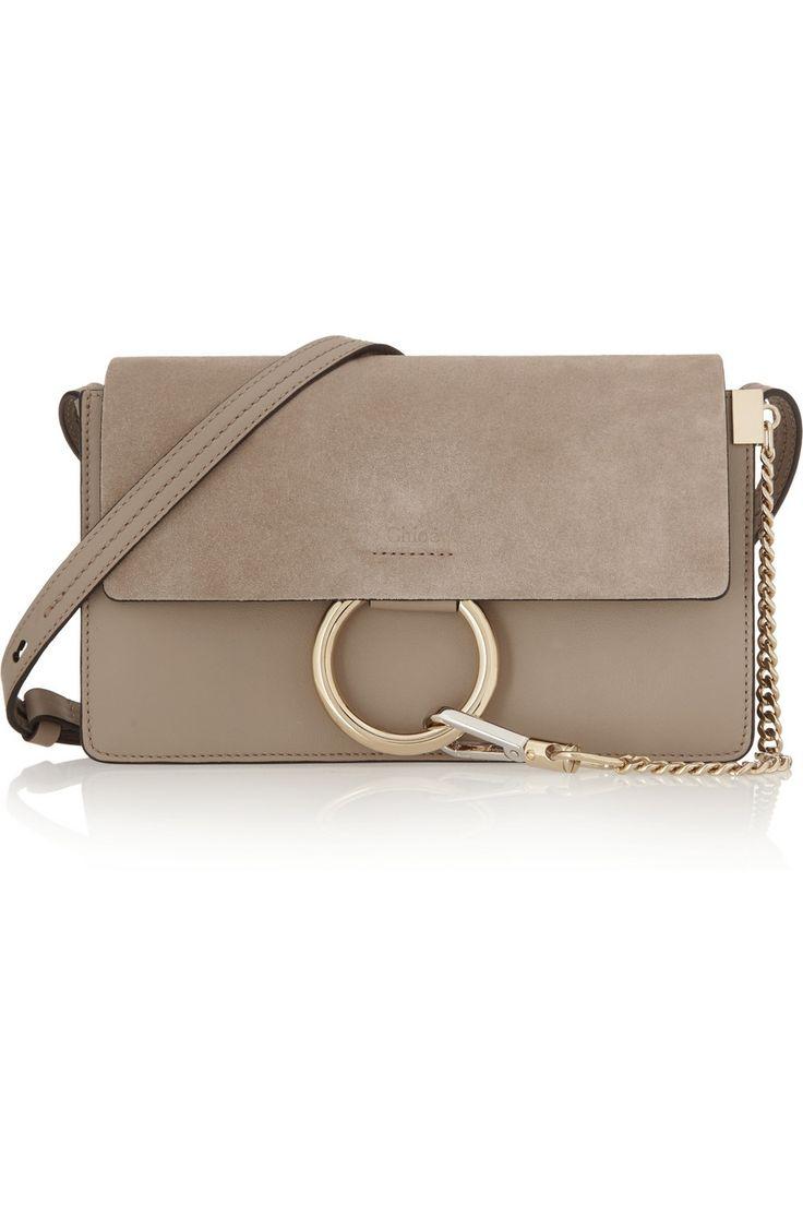 Chloé | Sac porté épaule en cuir et daim Faye Small | NET-A-PORTER.COM