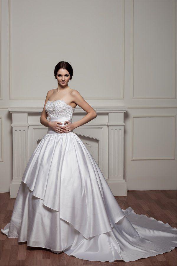 Robe de mariée naturel vie avec perle en satin de bustier