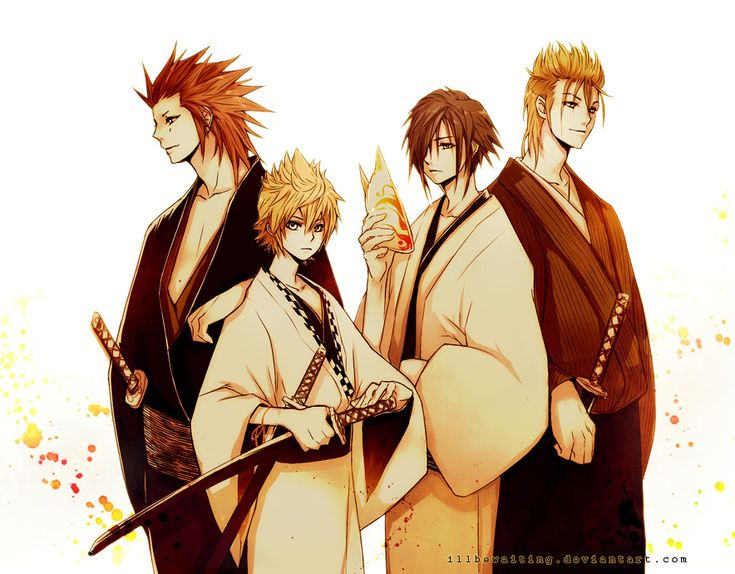 Kingdom Hearts / Samurai - Axel, Roxas, Zexion and Demyx (by illbewaiting)