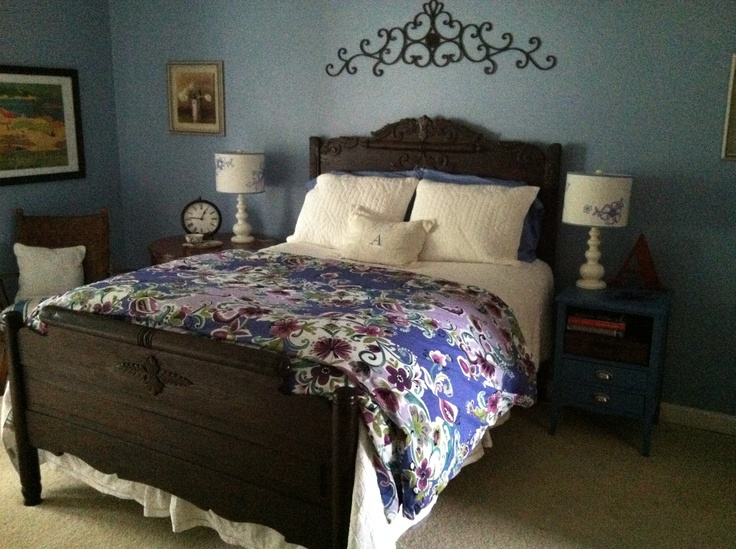 Antique and vintage furniture from Craig's List mixed with Pottery Barn Teen bedding and lamps make the perfect Cottage style bedroom!