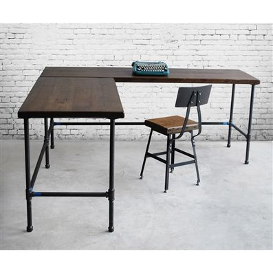 Custom Made Reclaimed Wood Industrial Styled L-Shaped Desk