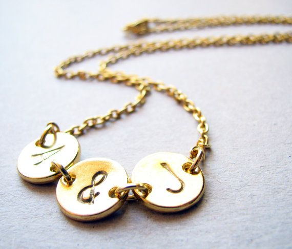 Gold Two Initials Necklace Gold Initial Necklace by froshjewels