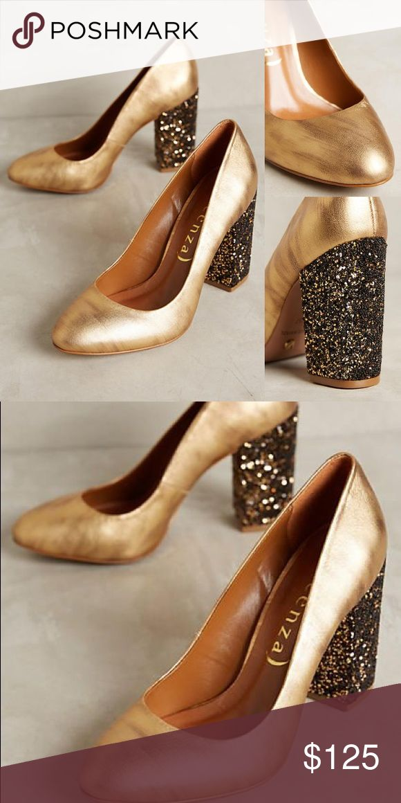 """Vicenza Calcados Gold Heels from Anthropologie Purchased from Anthropologie in October! Never worn, gorgeous shoes! 2"""" sequined wrapped heel.  —————————— ♠️No Trades ♠️No Off Posh Transactions ♠️Please use offer button to negotiate Anthropologie Shoes Heels"""