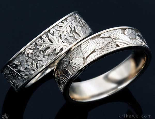 with many leaf designs to choose from you can add a beautiful touch of nature - Wiccan Wedding Rings