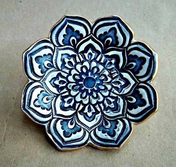 Ceramic Lotus Ring Dish Navy Blue