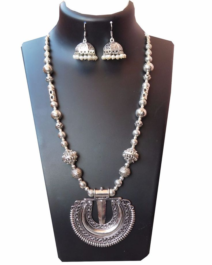 Oxidised german silver round pendant long neckpiece with jhumka
