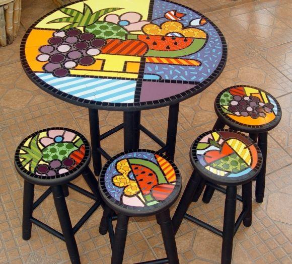 Conjunto de mesa em mosaico, cesta de frutas, com 4 bancos