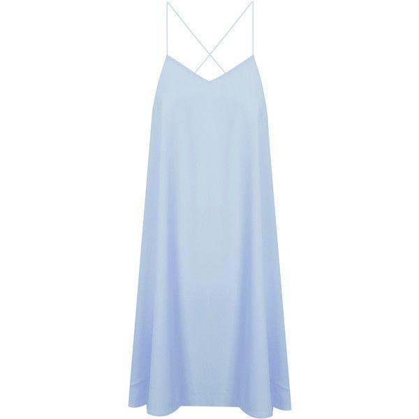 Light Blue Cross Back Cami Dress found on Polyvore