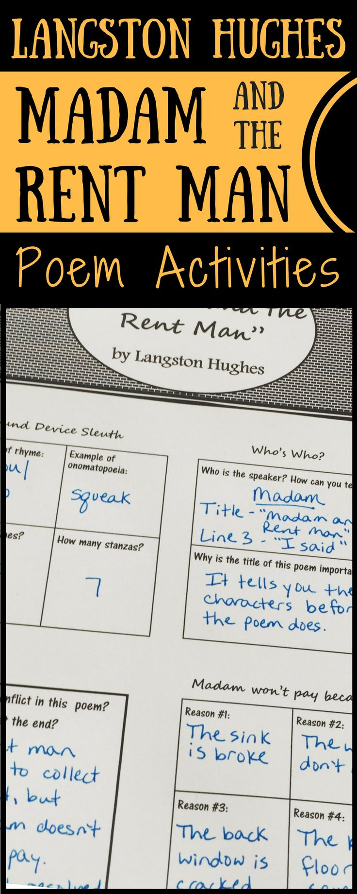 """Madam and the Rent Man"" Poem Activities - Use this humorous Langston Hughes poem to teach character, theme, and elements of poetry! These poetry analysis pages cover sound devices and figurative language as well as character traits, conflict, cause and effect, determining theme, an more poetry reading skills."