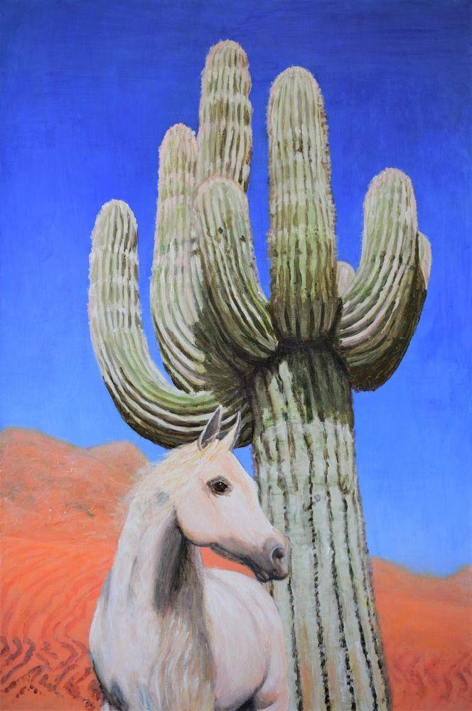 FREE POSTAGE Original Painting Landscape Desert Horse Cactus Art Jane Ianniello