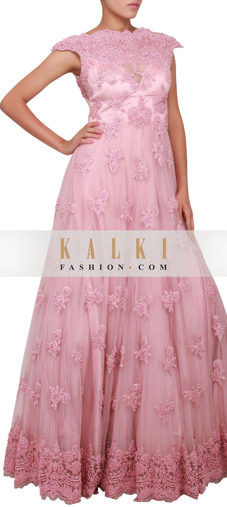 Buy Online from the link below. We ship worldwide (Free Shipping over US$100) http://www.kalkifashion.com/light-pink-gown-embellished-in-pearl-embroidery-only-on-kalki.html