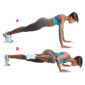 Spiderman Push Ups are a great way to smash the obliques and lower abs while working the upper body.