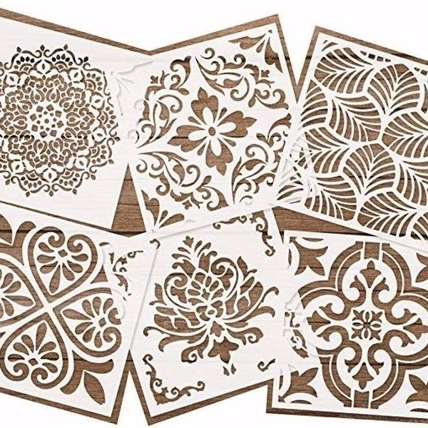 6psc Set Diy Craft Layering Mandala Stencils For Painting On Wood Fabric Paper Airbrush Walls Art Scrapbooking Stamping Album Decorative Embossing Paper Cards In 2020 Stenciled Floor Tile Stencil Stencils Wall