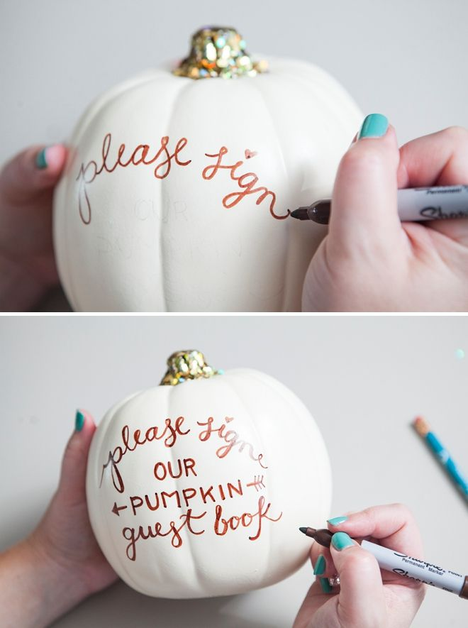 DIY Wedding // faux pumpkin guest book -- perfect for a fall wedding!
