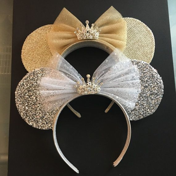 Deluxe Gold or Silver Diamond Queen Minnie Mouse Ears with Rhinestone center Crown