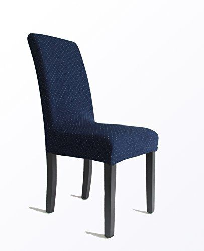 YOKAT Jacquard Stretch Crepe Dining Room Chair Covers Hotel Party Slipcover 6 Blue