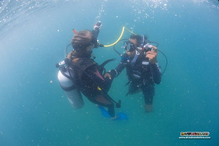 Azhar controls his students' ascent rate during the alternate air source ascent skill in open water :)