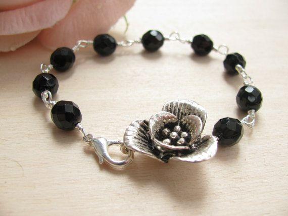 Flower bracelet Black bracelet Valentine Romantic bracelet Romantic jewelry Spring jewelry