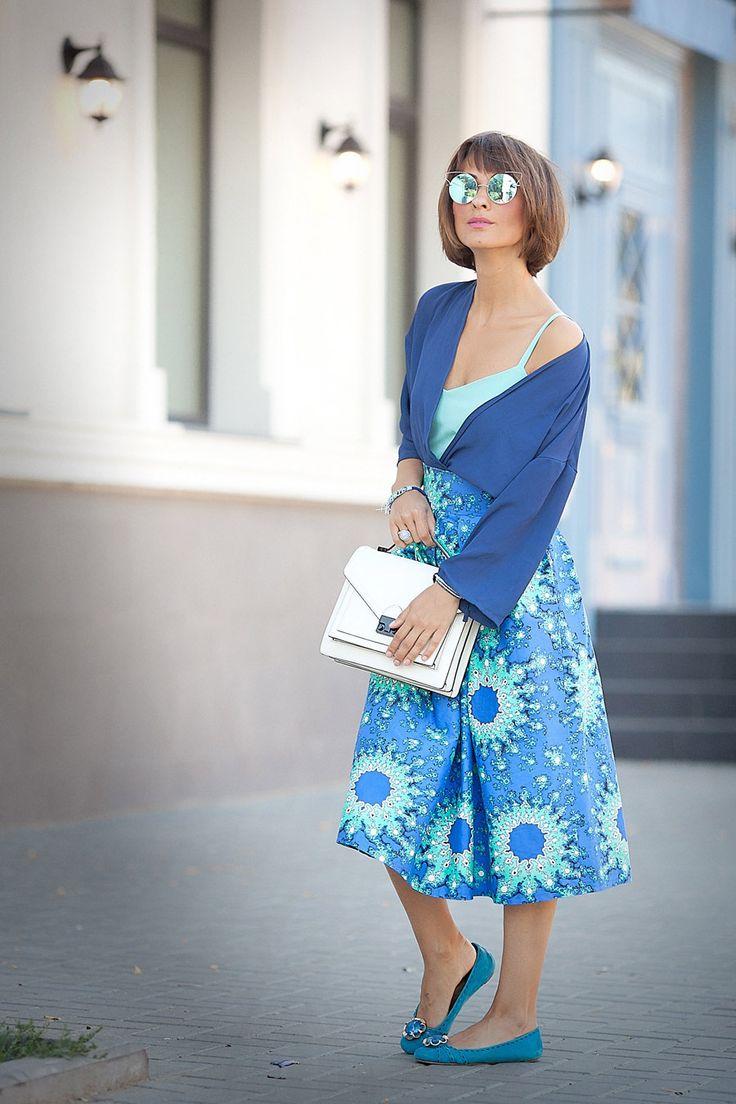 летние образы, холодные цвета в моде, уличная мода, фешн блоггер Елена Галант,
