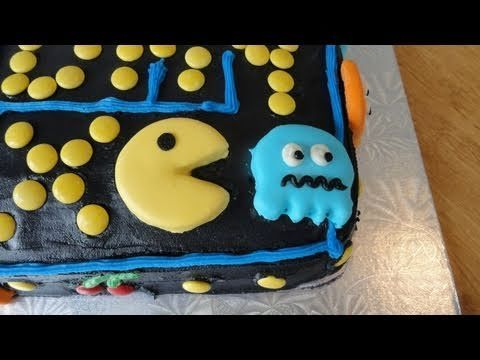 Ideas for this cake found online. Pacman/Ghost cookies Recipe: 1/2 cup butter 1/3 cup shortening 1 cup white granulated sugar 1/3 cup dairy sour cream 1 egg 1 tsp vanilla 3/4 tsp baking powder 2 1/2 cups flour Beat butter and shortening in large mixing bowl with an electric mixer on medium to high for 30 seconds. Add sugar, sour cream, egg,...