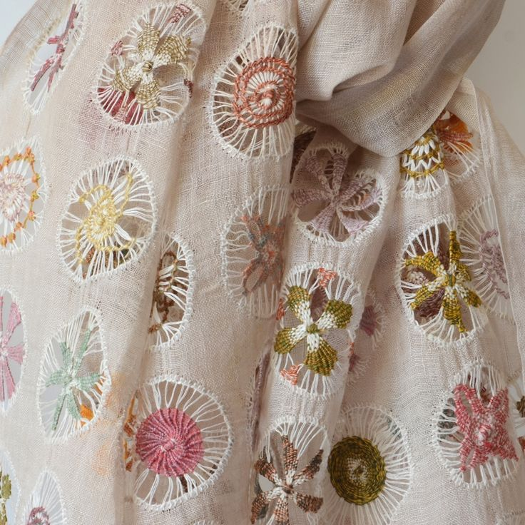 Hand embroidered and hemstiched Sophie Digard sand-coloured linen stole