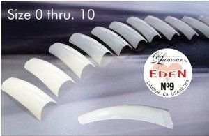 Lamour Eden French Tips 50pcs/bag, #10. by Lamour Tips. $3.93. Natural curve, thin, easy apply with half-moon nail bed. Flexible, extremely durable, and easily attached to nails. Available in Natural, Crystal, French, Pearl, Clear. Tips are sizes 0 thru.10. 50 pcs for each size per bag.