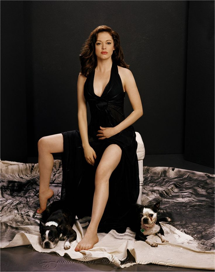 Rose McGowan with her Boston Terriers, Fester and Bug.