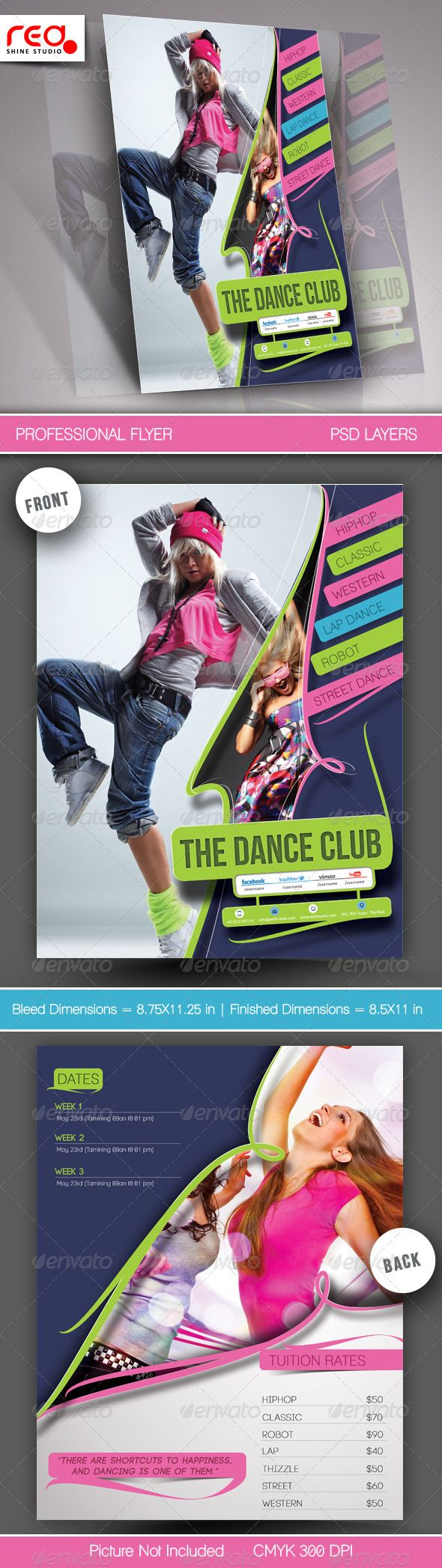 Dance Academy Flyer & Poster Template - 2   #GraphicRiver        SPECIFICATION 	 Both Side Flyer Template is 8.5 by 11 in (8.75 in by 11.25 in with bleeds) and is ready for print, because it's in CMYK at 300 dpi. The psd file can be edited in Photoshop, and to be simple able to change the text.  	 2 Layered Photoshop file in zip folders with editable text and