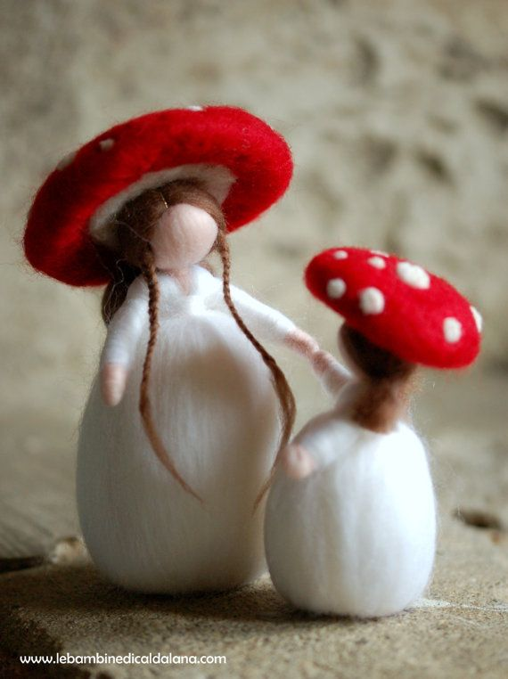 Delicious mushrooms holding hands, fairy tale wool are unique, handmade with love and care in accordance with the principles of Waldorf