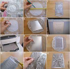 diy wedding invitations doily - Google Search