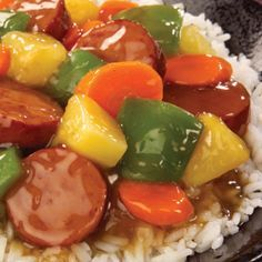 Sweet and Sour Stir Fry with delicious Eckrich Smoked Sausage, juicy pineapple and crunchy carrots #recipe