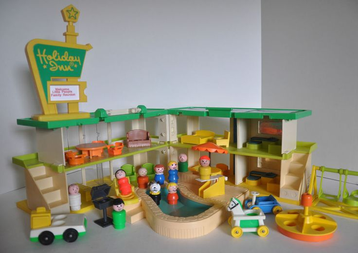 Vintage Fisher Price Little People with a Playskool Holiday Inn #FisherPriceandPlayskool