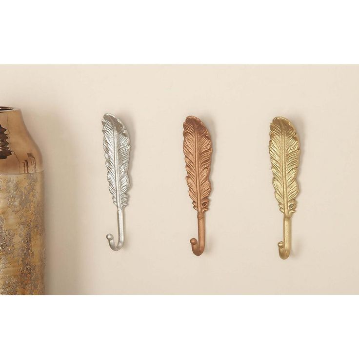 2 in. x 9 in. Traditional Iron Feather Wall Hooks in Gold, Silver or Bronze Finish (3-Pack), Yellows/Golds