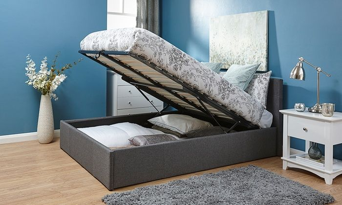 Groupon Goods Global GmbH: Kingsley Fabric Ottoman Bedframe with End or Side Lift and Optional Mattress With Free Delivery