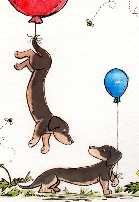 Dachshund Art- Up and Away 8X10 Archival Print- Two Black and Tan Dachshunds with Balloons- Nursery Wall Art. $18.00, via Etsy.